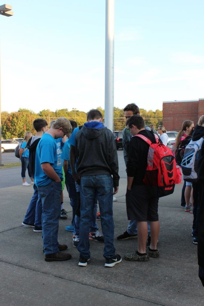 Submitted photo Students and staff at Community Middle School in Unionville, Tenn., gathered Wednesday, Sept. 23 for See You at the Pole for prayer before school. The event is a nationwide STUDENT-LED voluntary prayer initiative.