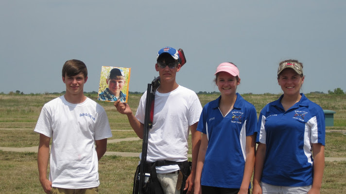 "Shelbyville trap team members (from left) Michael Clark; ""Flat Jack,"" a photo representing Jackson Smith; Lane Casson; Jennie Kate Conley; and Jessie Sanders. Not pictured is fill-in teammate Chase Kobeck of Lawrenceburg. (Submitted photo)"